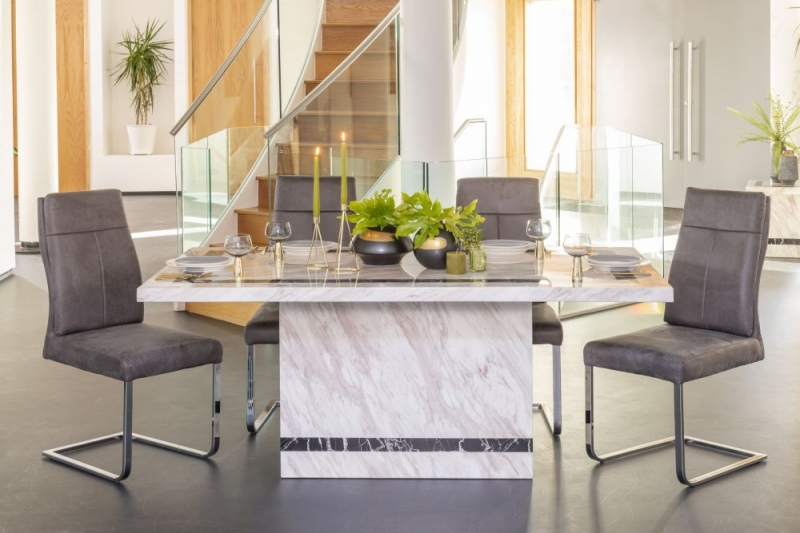 Urban Deco Rome 160cm Cream Marble Dining Table with Donatella Grey Chairs