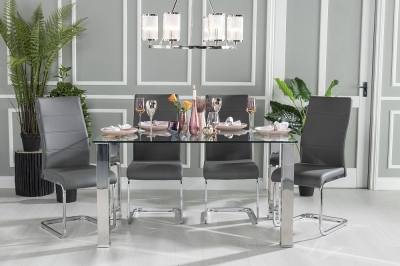 Urban Deco Sophia 180cm Glass and Chrome Dining Table and 6 Ellis Grey Chairs