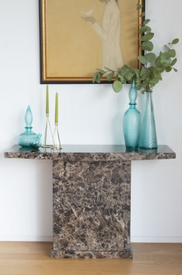 Urban Deco Turin Brown Marble Console Table