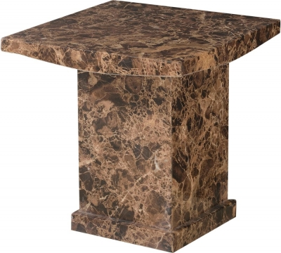 Urban Deco Turin Brown Marble Lamp Table