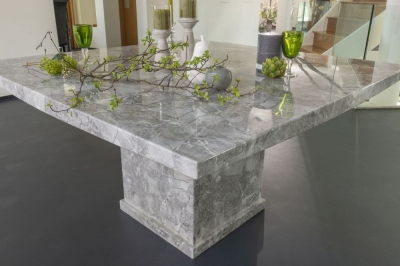 Urban Deco Turin Grey Marble Square Dining Table