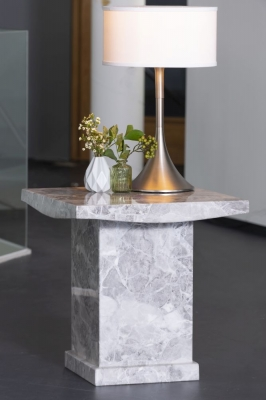 Urban Deco Turin Grey Marble Square Lamp Table