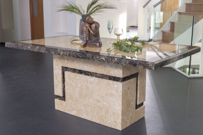 Urban Deco Venice 180cm Cream Marble Dining Table