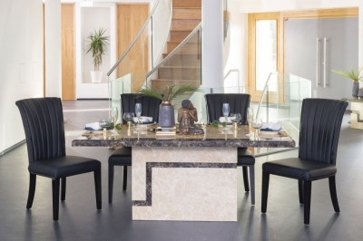 Urban Deco Venice 200cm Cream Marble Dining Table and 6 Cadiz Black Chairs