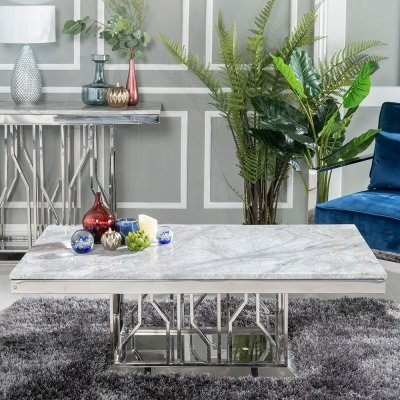 Urban Deco Vortex Grey Marble and Chrome Coffee Table