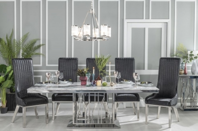 Urban Deco Vortex 220cm Grey Marble and Chrome Dining Table and 6 Allure Black Chairs
