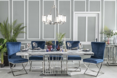 Urban Deco Vortex 220cm Grey Marble and Chrome Dining Table and 6 Lyon Blue Chairs