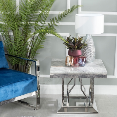 Urban Deco Vortex Grey Marble and Chrome Side Table