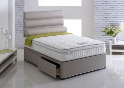 Vogue Talalay Latex Coral Star 2000 Pocket Spring Fabric Divan Bed with Natural Touch