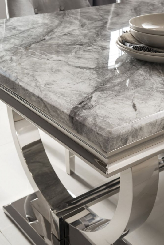 Clark Dining Table - Grey Marble and Chrome