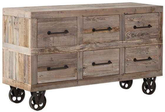 Pocono Reclaimed Wood and Metal 6 Drawer Dresser with Wheels