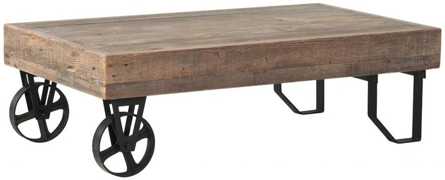 Pocono Reclaimed Wood and Metal Coffee Table with Wheels