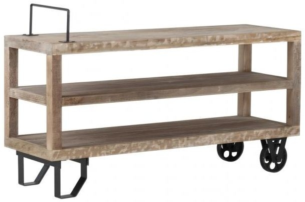 Pocono Reclaimed Wood and Metal TV Unit Table with Wheels and Handle