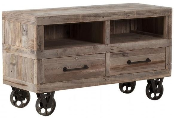 Pocono Reclaimed Wood and Metal 2 Drawer TV Unit with Wheels