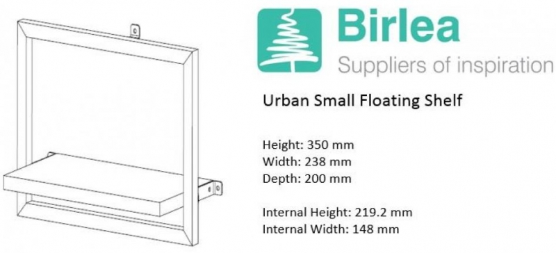 Ullin Rustic Small Floating Shelf with Metal Frame