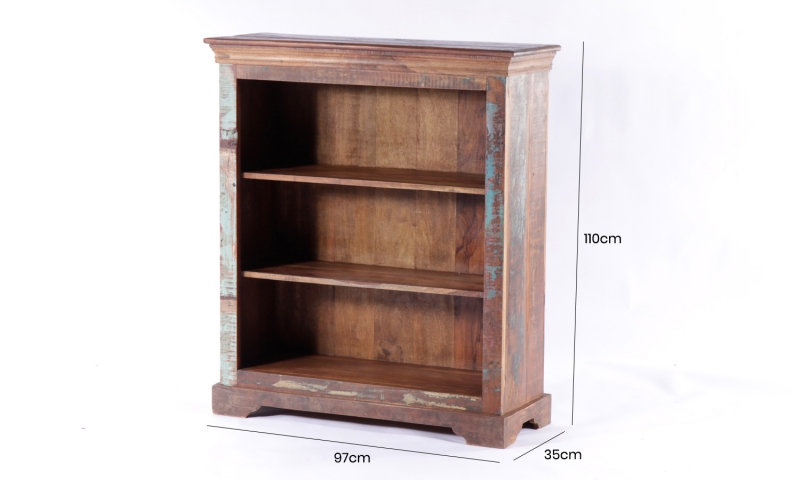 UNIQUE Reclaimed Recycled Shabby Chic 2 Shelves Low Bookcase