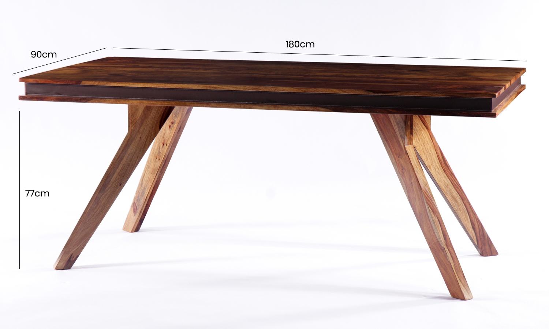 GRANDE Sheesham and Leather Trim Rectangular Dining Table - 180cm