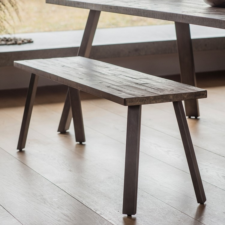 Clouds Rustic Rectangular Dining Set with 4 Finchley Grey Chairs - 150cm