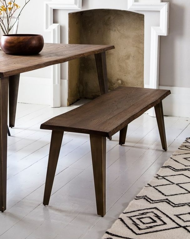 Charities Oak Rectangular Dining Set with 4 Edington Brown Faux Leather Chairs and Bench - 180cm