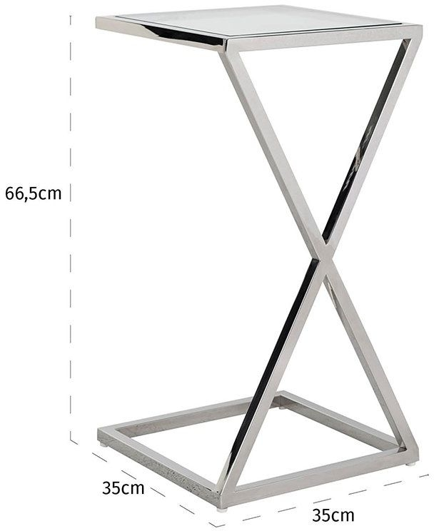 Paramount Glass and Stainless Steel Sofa Side Table