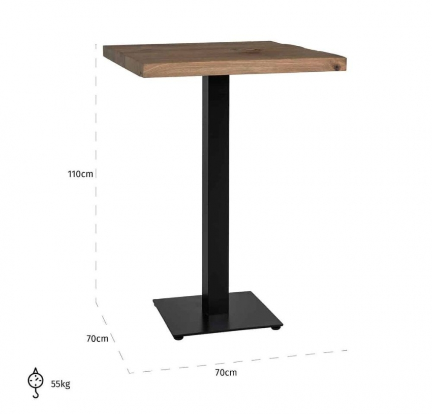 Gastronomy Square Bar Table with Single Leg - 70cm