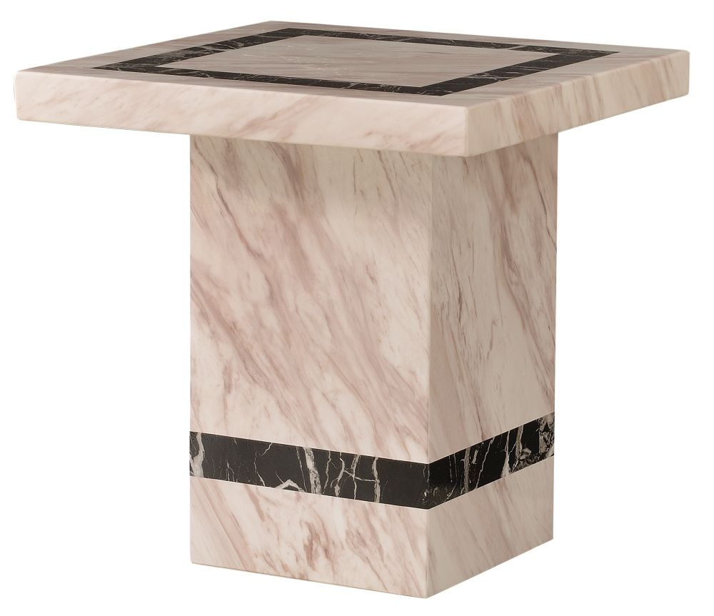 Urban Deco Rome Cream Marble Lamp Table