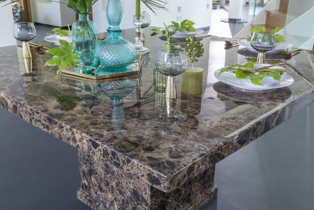 Urban Deco Turin Brown Marble Square Dining Table