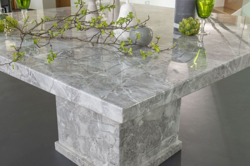 Urban Deco Turin Grey Marble 140cm Square Dining Table