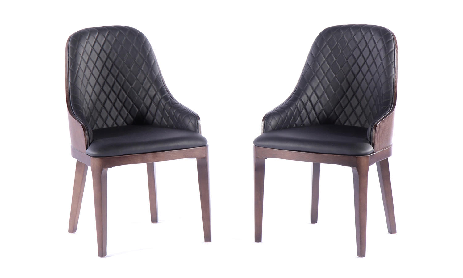 Urban Deco Madrid Black Faux Leather Dining Chair (Pair)