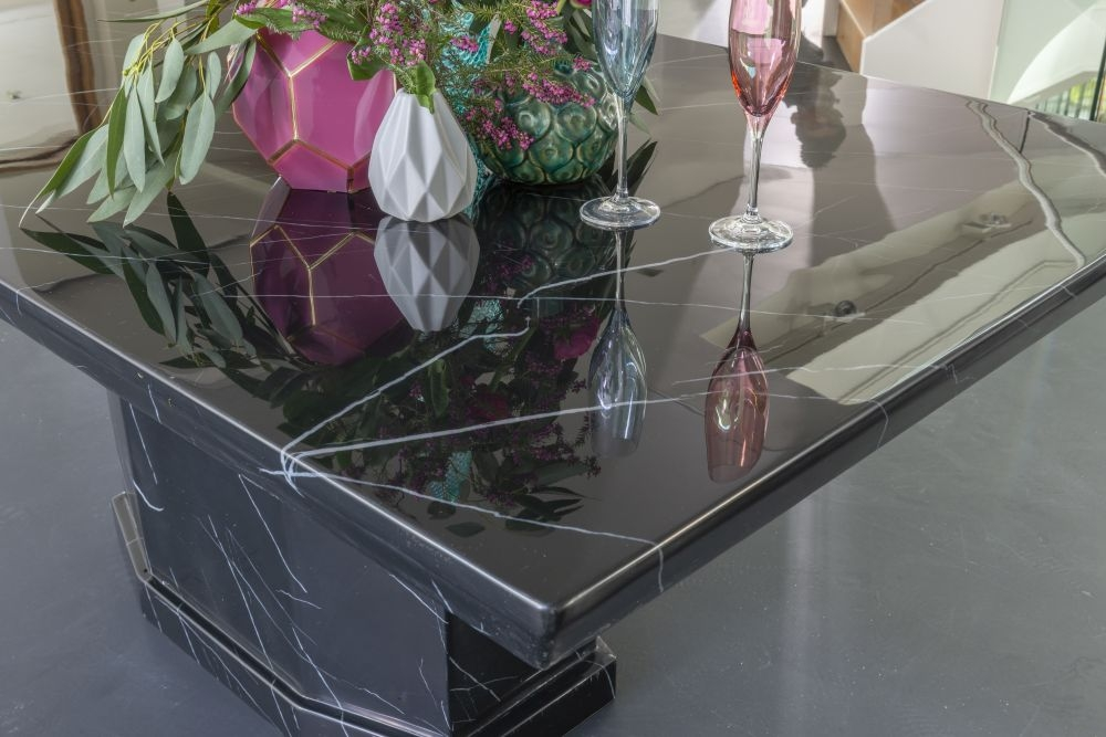 Urban Deco Naples Black Marble 160cm Rectangular Dining Table