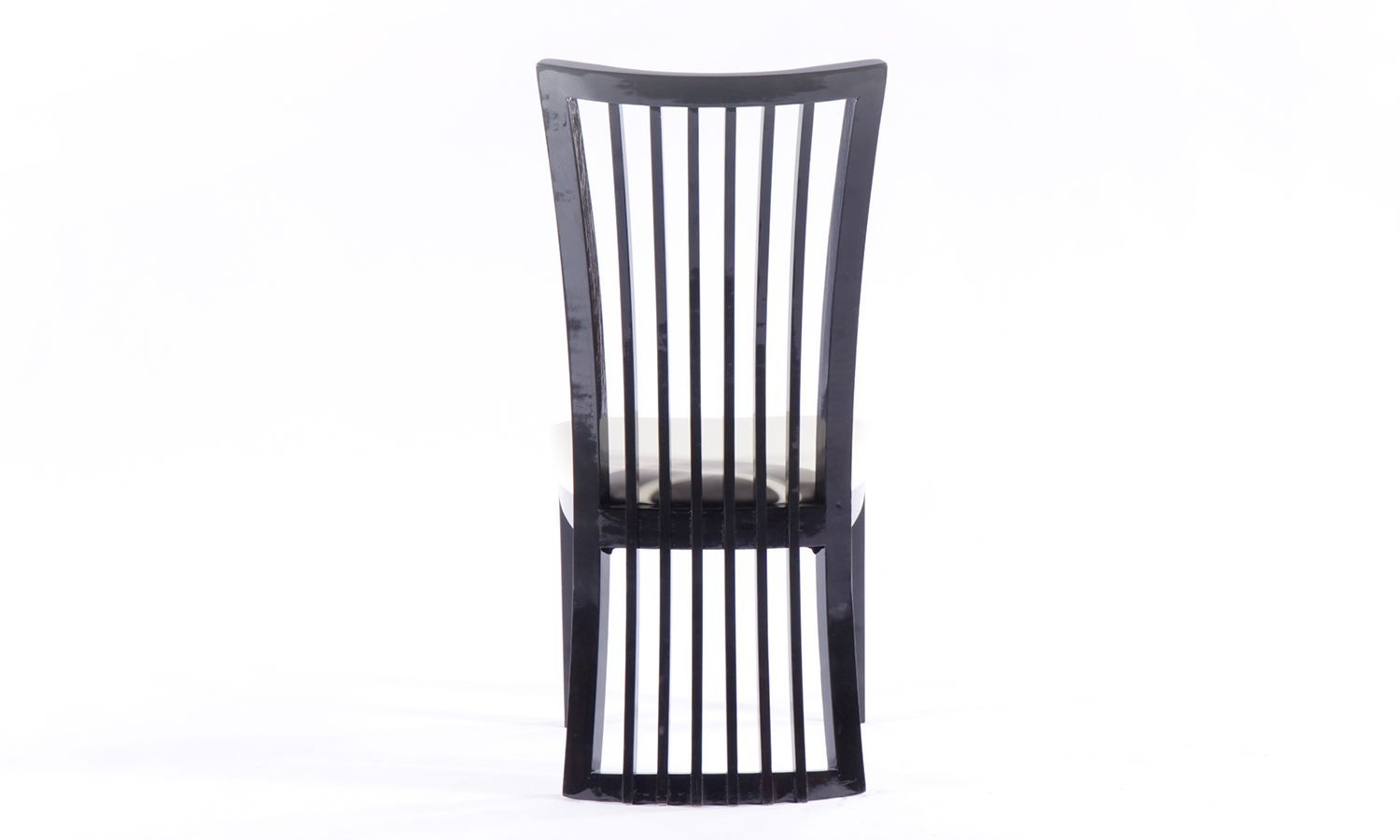 Urban Deco Athena Black High Gloss Slatted Dining Chair (Pair)