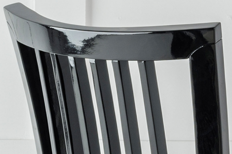 Athena Black Gloss Slatted Back Dining Chair