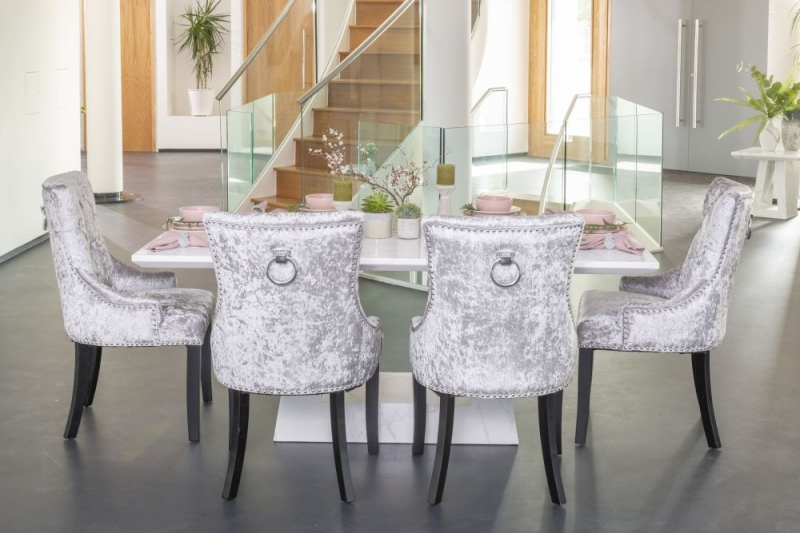 Urban Deco Milan White Marble 180cm Rectangular Dining Set with Silver Velvet Knockerback Chairs