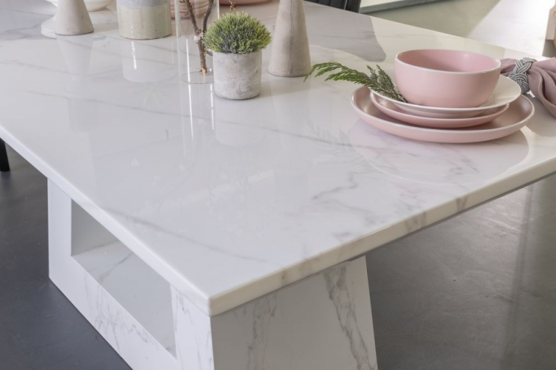 Buy Urban Deco Milan White Marble 160cm Dining Table with 4 Cadiz Black Chairs and Get 2 Extra Chairs Worth £298 For FREE