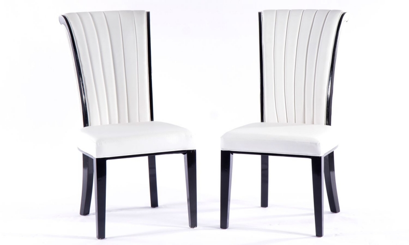 4 x Urban Deco Cadiz White Faux Leather Dining Chair
