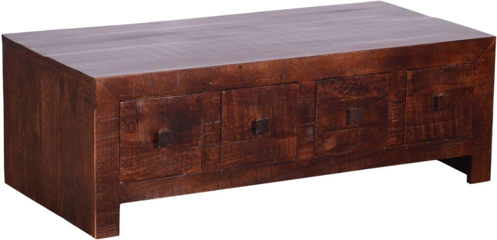 Urban Deco Dakota Dark Mango 4 Drawer Storage Coffee Table