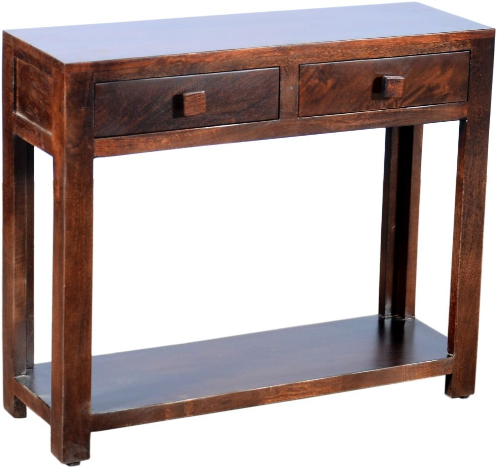 Urban Deco Dakota Dark Mango 2 Drawer Wide Console Table