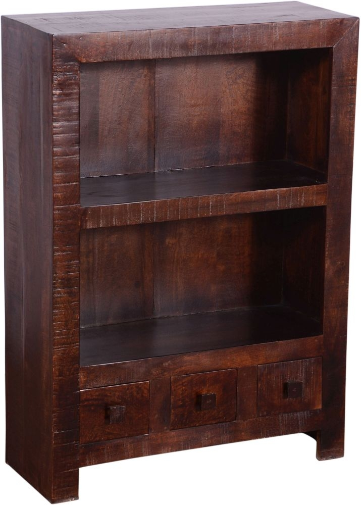 Urban Deco Dakota Dark Mango Distressed 3 Drawer Bookcase