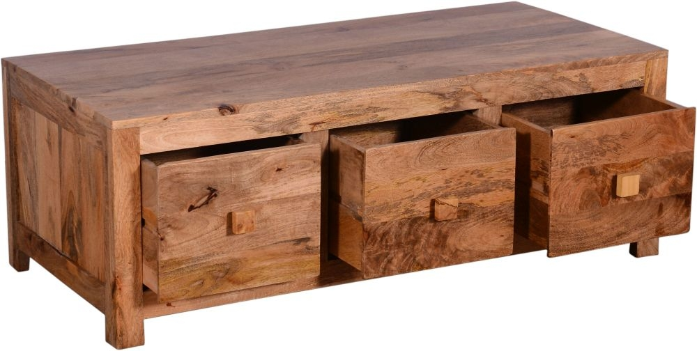 Urban Deco Dakota Light Mango 6 Drawer Storage Coffee Table