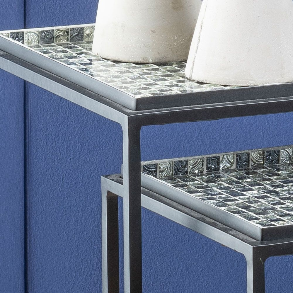 Urban Deco Nova Black Metal and Mosaic Nest of Tray Tables