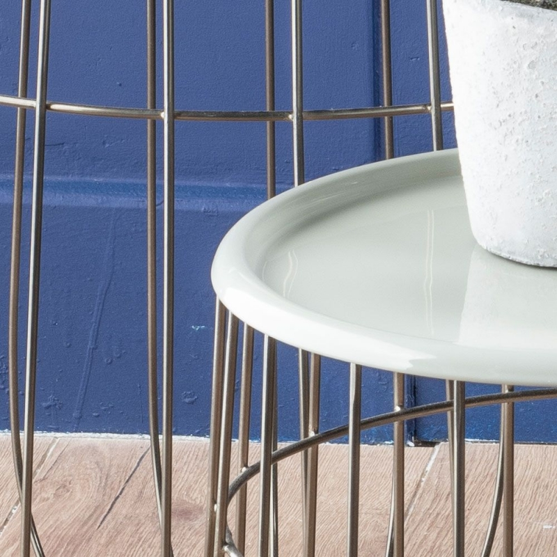Urban Deco Quinn Black and Enamel Painted Nest of Tray Tables