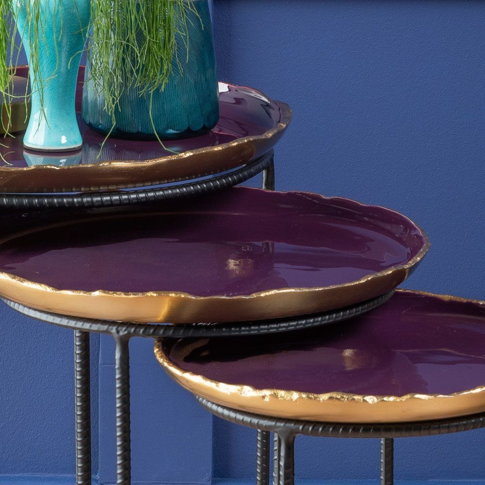 Urban Deco Agate Black Metal and Enamel Painted Nest of Tray Tables