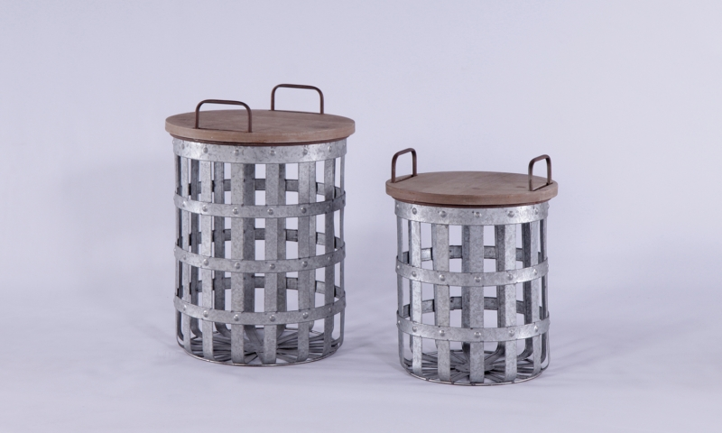 Urban Deco Metal Set of 2 Round Storage Tables