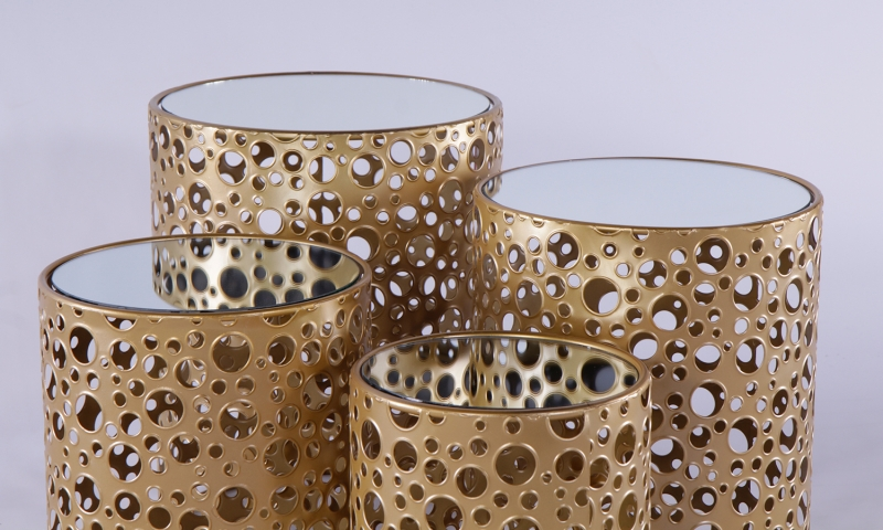 Urban Deco Gold Metal In Clear Glass Nest of 4 Tables