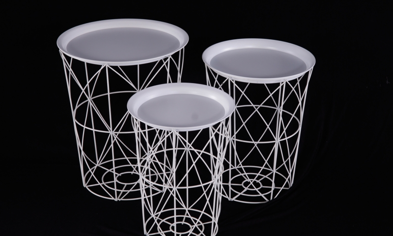 Urban Deco White Metal Set of 3 Tray Tables