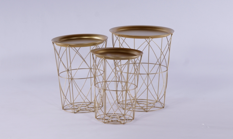 Urban Deco Gold Metal Set of 3 Tray Tables