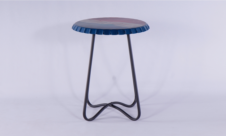 Urban Deco Metal Pepsi Printed Set of 3 Side Tables