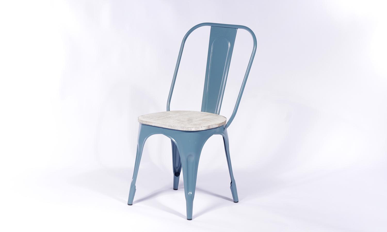 2 X Urban Deco Industrial Blue Iron Metal Dining Chair