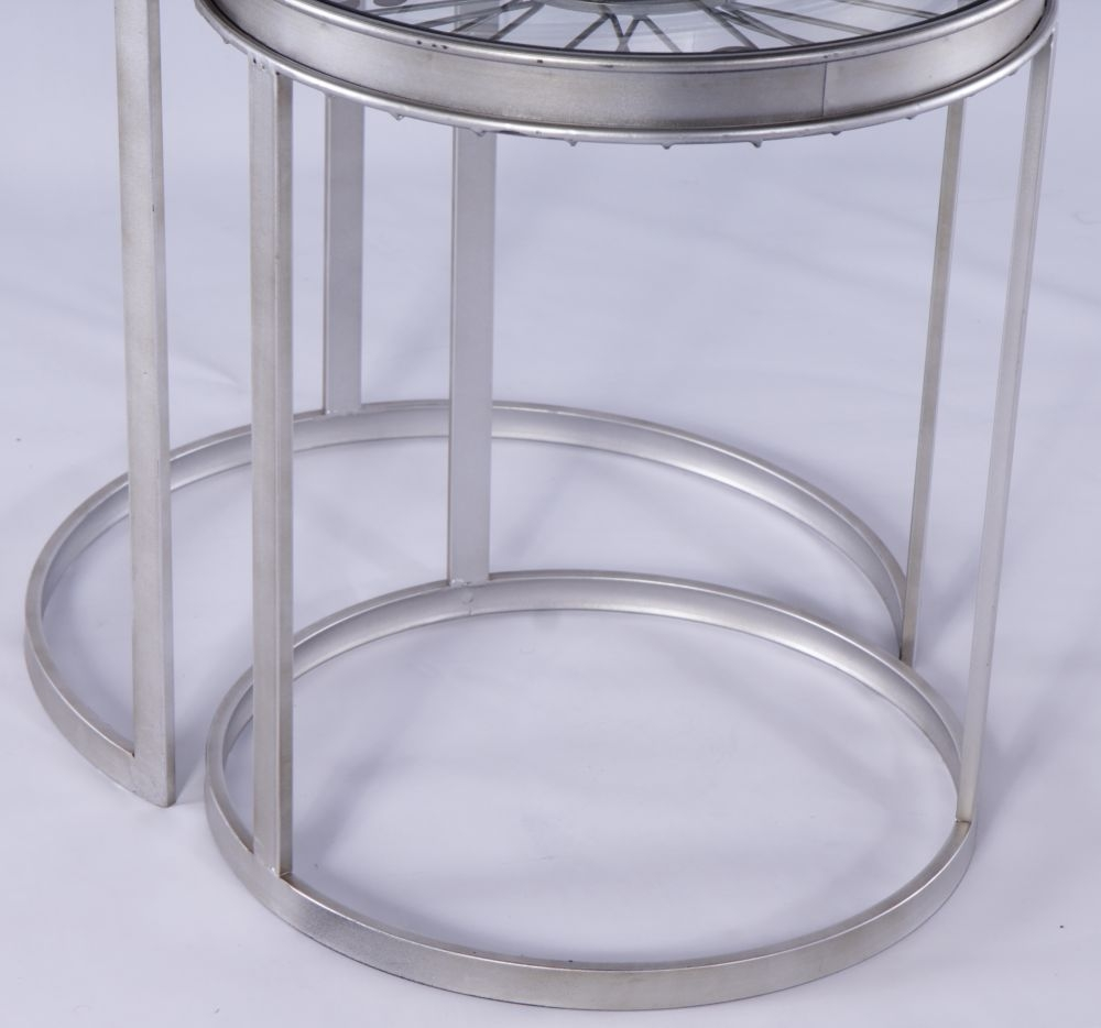 Urban Deco Silver Metal and Glass Nest of 2 Round Clock Tables