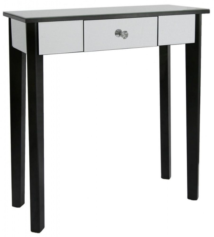 Siena Mirrored Black Console Table